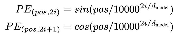 Position encoding公式