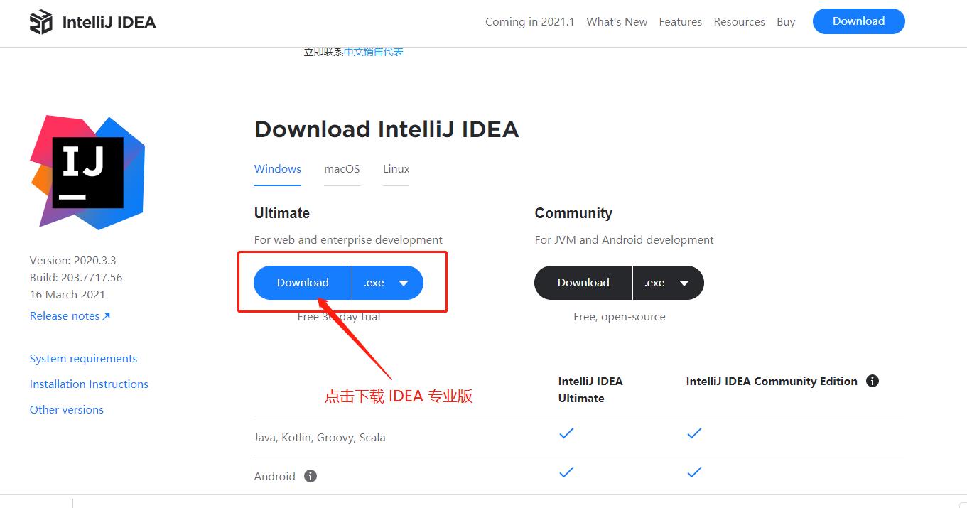 IDEA 2020.3.3版本官网下载