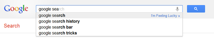 Google Suggest in action.