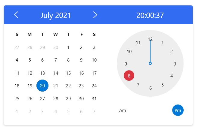 CalendarWithClock