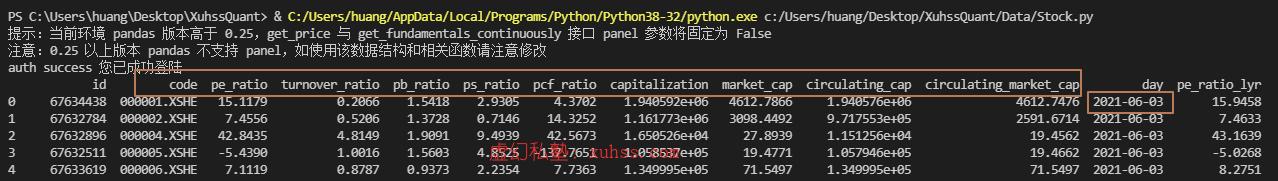 20210603230109 - Python量化交易实战-09使用get_fundamentals查询估值指标