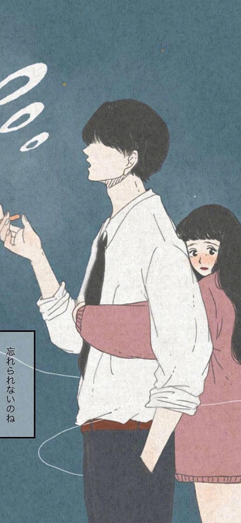 情侣插画高清手机壁纸925*2000