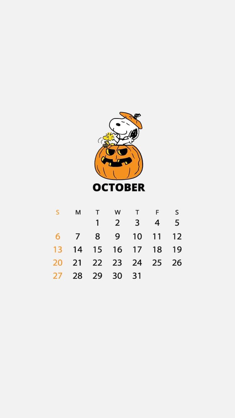 2019年10月日历壁纸史努比手机壁纸(三),壁纸尺寸750*1334