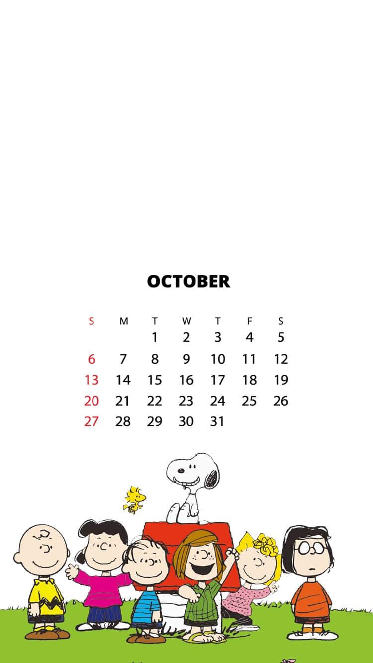 2019年10月日历壁纸,可爱史努比壁纸 壁纸尺寸750*1334