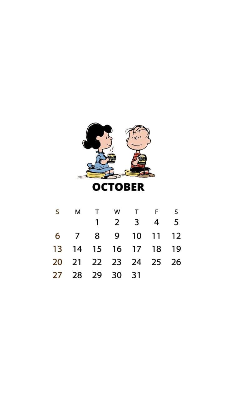 2019年10月日历壁纸,可爱史努比壁纸