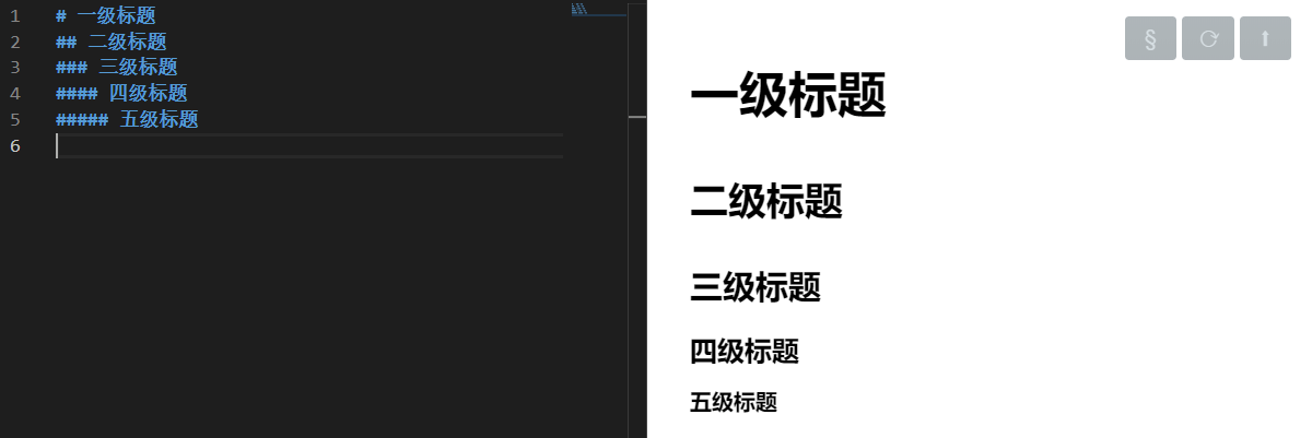 五级标题:左边代码及右边预览图