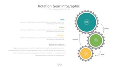 三项齿轮联动PPT图形素材