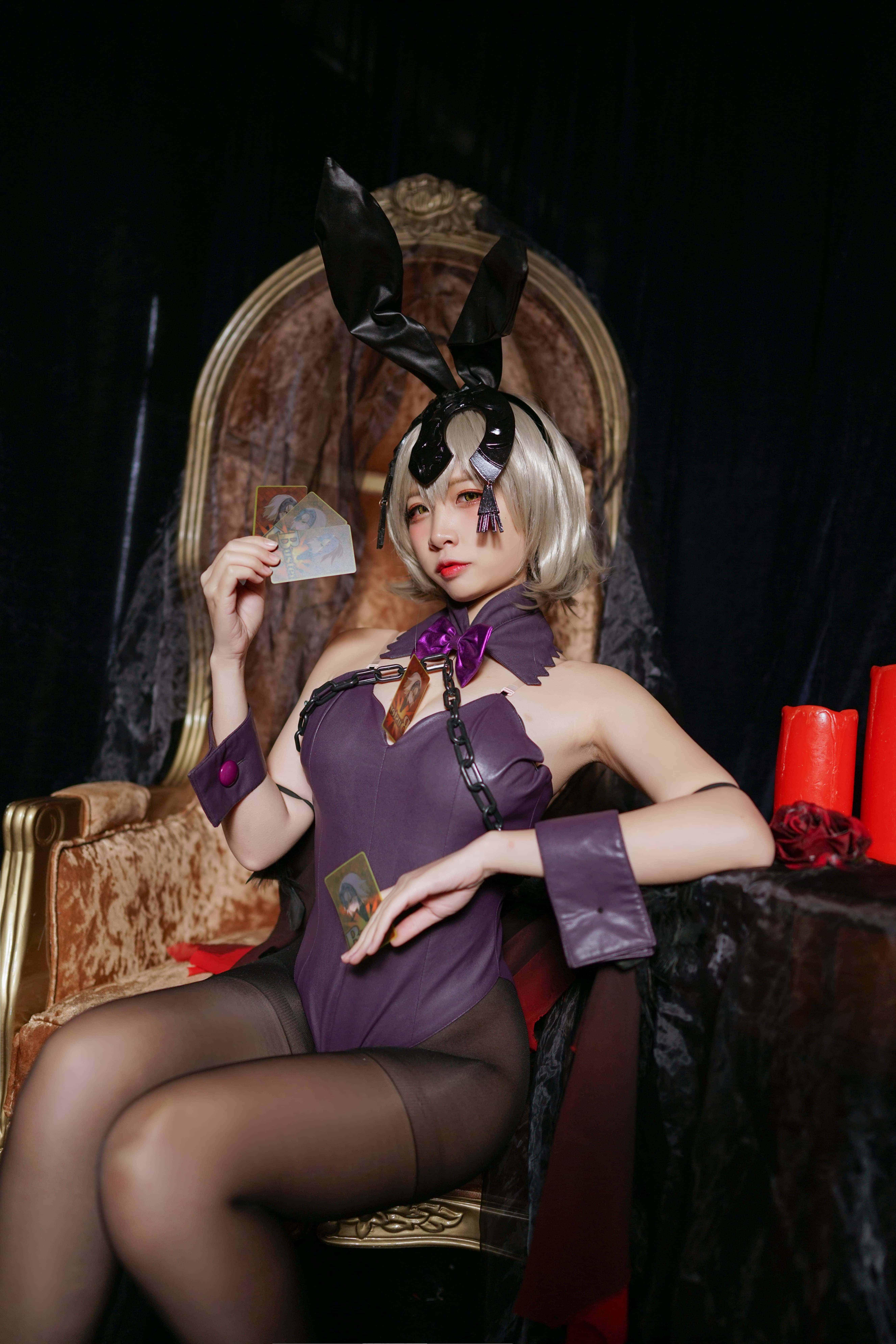 【二佐Nisa】cosplay《fate》黑贞德兔女郎正片 次元美图
