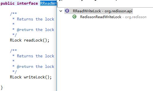 RReadWriteLock接口实现类的代码结构