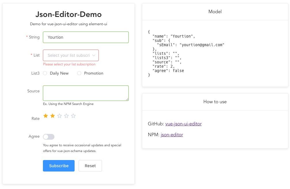 vue-json-ui-editor: 基于Vue的JSON可视化编辑器,通过定义JSON